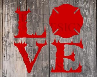 Download Love firefighter svg | Etsy