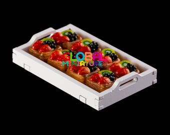 Dollhouse Miniatures Strawberry Mixed Fruit Square Puff Tart Bakery Sweets Accessory Decoration Supply - 1:12 Scale