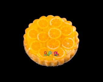 Dollhouse Miniatures Handcrafted Clay Orange in Syrup Round Tart on Aluminum Dish - 1:12 Scale
