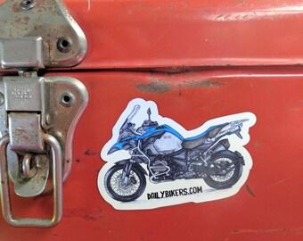 Motorcycle Fridge Magnet | High Quality Vinyl Motorcycle Magnet | Blue Adventure Bike illustration