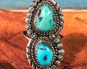 Vintage Southwest Navajo Old Pawn Double Turquoise Ring