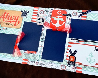 12x12 Premade Scrapbook Page, Summer Scrapbook Page, Cruise Scrapbook Page, Scrapbook Premade Page, 12x12 Scrapbook Layout, lake scrapbook