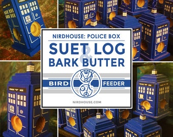 British Police Box Suet Log & Bark Butter Bird Feeder, NIRDHOUSE, Geeky Gifts, Geeky Gardener, Nerd Garden, Nerdy Gifts, TARDIS, Doctor Who