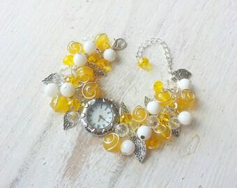 "Wrist watches ""Marie"", beaded watches, gemstone watch, women's watches, watch for women, watches beads, bracelet watch, beaded watches"