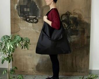Oversized Vegan Shoulder Bag Black, Simple Big bag, Large Shoulder Bag, Large Tote Bag Black, Large Tote Bag, Big Shoulder Bag, Big Black Ba