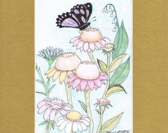Butterfly by Mary Bottom Original Ink and Colored Pencil on Paper 6x9 Matted
