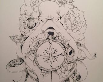 Octopus Tattoo Drawing Print