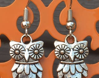 Owl charm dangle earrings