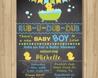 Rubber Duckie Baby Shower Invitation, Rubber Duck Baby Shower, Rubber Duck Invitation, Rubber Duck Chalkboard Invitation