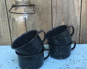Vintage Enamelware - Enamelware Cups - Enamelware Mugs - Black Enamelware - Splatterware - Speckled Enamelware - Farmhouse Decor