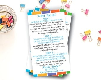 "Rodan and Fields Mini Facial Card / Rodan + Fields Cards / Digital File /  3"" x 5"" OR Business Card Size"