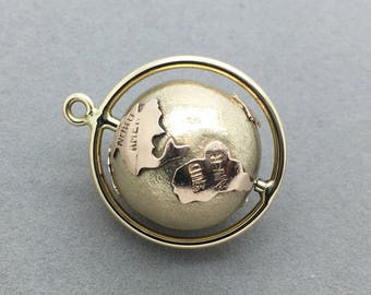 Vintage 14k Yellow and Rose Gold Spinning Globe Pendant Charm, 3D Mechanical Revolving World Continents Retro Necklace