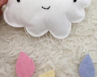 Rain cloud mobile /single hanging cloud/ rain droplets