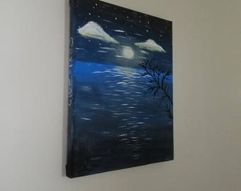 Night River, Acrylic Canvas Painting, Original Painting, Amateur Art