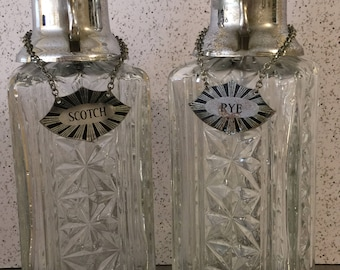 Vintage Art Glass Decanters Set 2 Stainless Pump Spouts Chained Tags | Scotch Rye Vodka Bourbon | Art Deco Style | Modern Bar Cart | Working