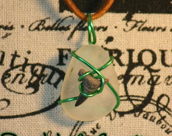 White Seaglass With Green Wire Wrapped Shark Tooth Pendant