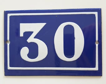 Old French enamel house number SIGN Door street address gate PLATE PLAQUE Enamel steel metal 30 Blue