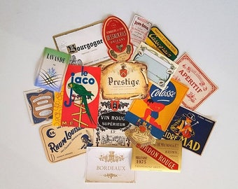 SALE 17 Vintage advertising labels on paper French decor Never used No reprint Not digital downupload !