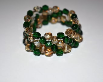 Stretch Bead Bracelet. Green Beads. St Patrick's Day. Czech Glass Beads. St Patrick Bracelet. For Her. Under 50. Fun Accessories.
