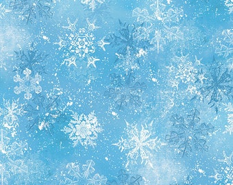 Christmas Fabric / Snowy Friends, Light Blue Snowflake Toss / Wilmington Prints 33817 440 / Fat Quarters & Yardage / Christmas Yardage