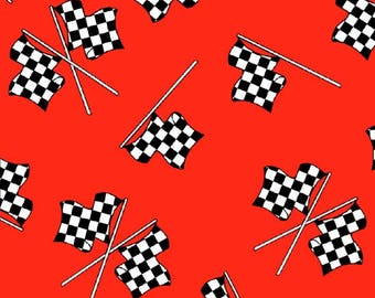 Racing Flags Red Fabric / Fast Track Fabric / Race Car Fabric by Henry Glass 1171 / Fat Quarters and By The Yard