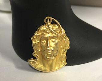 18K Gold 3D Jesus Christ Head Pendant ,Jesus Pendant, Jesus Jewelry, Religious Jewelry, Christian Jewelry, Christian Pendant Jesus Head, 750