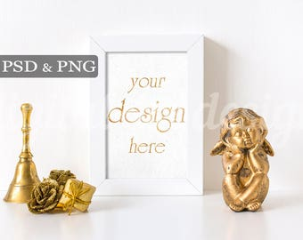 Gold Christmas Bell Styled Stock Photography Angel Roses Desk Vertical Frame Mockup Download Empty Art Frame Product Digital Background