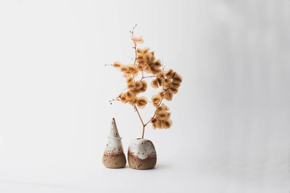 Stoneware Vase & Ring Cone Pair in Snow Cap