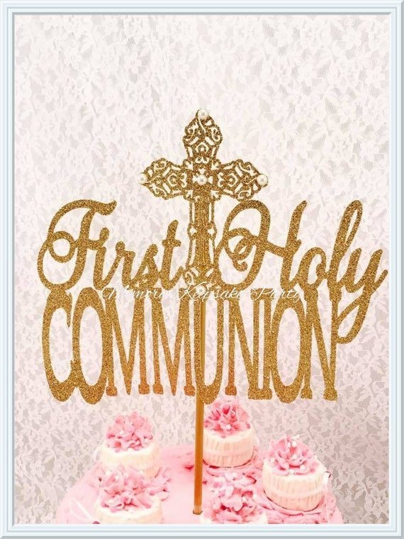 First holy communion cake topper holy communion party decorations holy communion centerpiece - Holy communion cake decorations ...
