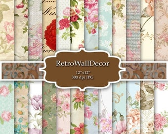 30%OFF Floral Digital Paper Pack , Vintage Floral Backgrounds , Vintage Roses Decoupage Digital , Flowers Paper Pack 12x12 Buy 2 Get 1 FREE