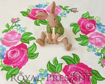 Machine Embroidery Design Lovely Pink Roses