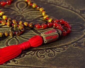 Tibetan mala, Meditation beads, Prayer beads, 108 bead mala, hand knotted mala, Tigers Eye Mala, Buddhist Mala, Tassel necklace, Mala, Boho