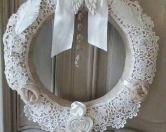 Shabby chic wreath, Christmas, wedding, baptism