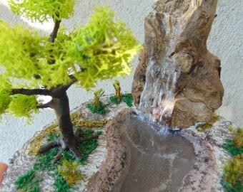 Realistic Diorama Waterfall,Fairy Garden waterfall,Fairy Pond, Fairy tree, fairy waterfall, fake water, dollhouse landscape, realistic