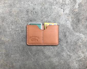 Cardholder wallet in natural leather 5 pockets