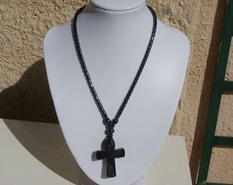 promo hematite necklace of 48 cm with a beautiful cross of 50 mm x 35 mm stones