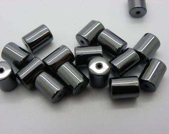 20 beads 9x6mm hematite cylinder black silver