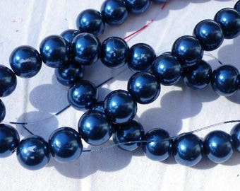 150 france 6 mm hard Blue Pearl glass beads
