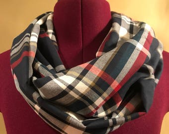 Blue plaid infinity scarf fall fashion