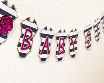 Baby girl banner; kate spade baby shower; floral banner; baby shower banner; onsie banner; black and white stripe; kate spade banner