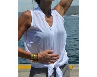 White soft cotton/rayon button top / blouse - 'Analee White'