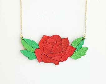 Leather Rose Necklace, Red Rose Necklace, Nature jewelry