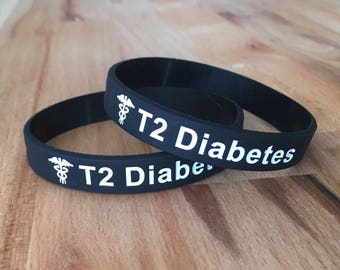 T2 Diabetes Medical Alert Wristband Bracelet Type 2 Silicone ID Diabetic Black Mens Womens Sports Band Medic Adult Gift For Running Gym