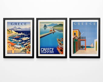 Greece Travel Poster Set of 3 Greek Posters Greek Wall Art Set Greek Decor Greece Tourist Poster Set Greek Art of Greece Posters Athens Art