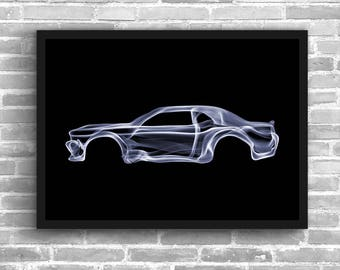Dodge Challenger Art Wall Art Classic Car Man Cave Muscle Car Gift For Him Automotive Art Challenger Art Car Home Decor Dodge Muscle Décor