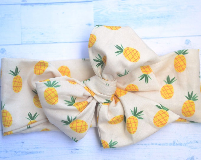 Pineapple baby head wrap orange baby headwrap baby headband baby turban toddler headwrap girls bow headwrap turban big bow baby headwrap