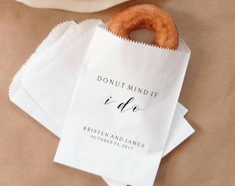 Donut Favor Bags, Doughnut Sacks, Wedding Dessert Table, Bridal Shower, Donut Mind If I Do - Personalized - Lined, Grease Resistant