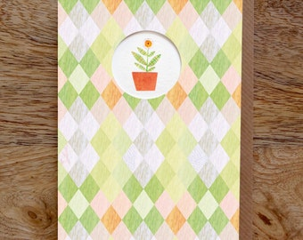 PLANT Greeting Card, Plant Card, Botanical Card, Diamond Pattern, Flower Card, Illustrated Card, Collage, Blank, Birthday, Die Cut