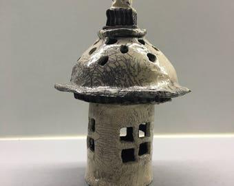 Ceramic raku photophore small garden house