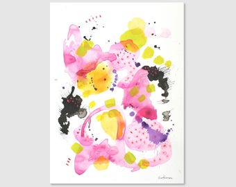 Acrylic painting on paper Abstract art Modern art Original painting Abstract wall art abstract Painting  Pink painting Pink art contemporary